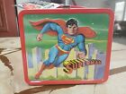 1978 Superman : vintage metal lunch box with WITH THERMOS C9 WITH TAG