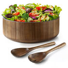 Miusco Acacia Wooden Large Salad Serving Bowl with Tongs Set 12 Inch 200 Oz