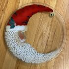 Peggy Karr Fused Glass Crescent Moon Santa 1125 Christmas Serving Plate Signed