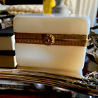 Antique French White Opaline Glass Box Caddy