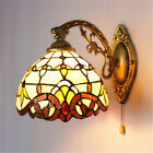 Tiffany Sconce Lighting Stained Glass Wall Lamp Fixture Vintage with Pull Switch