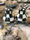Mackenzie Childs Small Courtly Check Salt and Pepper Shakers NIB