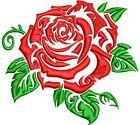 Simple Tattoo Style Rose Flower Cartoon Icon 4 Patch Applique Embroidery