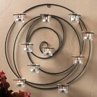 Black Intertwining Circle Iron Candle Holder Sconce 10 Glass Cups Wall Art Mount