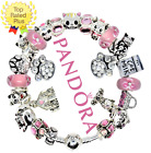Authentic PANDORA CAT CHARM Bracelet Silver Pink Cat Kitten with European Charms