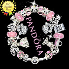 PANDORA HELLO KITTY FRIENDS CHARM Bracelet Silver Pink Cat with European Charms