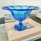 Blue Art Glass Compote candy Dish  liberty craftworks lcw Signed Art glass