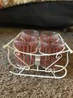 Vintage Sleigh Xmas Class Holder w Glasses