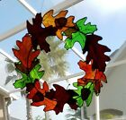 Stained Glass Autumn Leaf Wreath