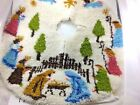 Latch Hook Rug Christmas Nativity Scene Tree Skirt Round White Fork Art Handmad