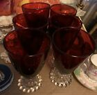 6 Mid Century Ruby Red Bubble Footed Goblets 5 1 2 Tall