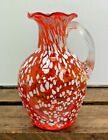 Collectable MCM Art Studio Orange Splatter Glass Handled Jug Vase
