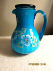 Fenton Guest Set AZURE BLUE Rib Optic HP Floral Guest Set w White Cased Glass