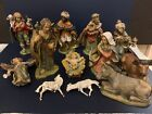 Vintage 13 Piece Plastic Nativity Figures Holy Family Magi Animals Angel Italy