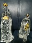 Set 2 GORHAM Crystal Wise Men Kings Nativity Germany MIB Gold Jewels