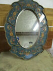Oval Wall Mirror Decorative Handpainted Glass Wood Blue Green Floral Design