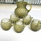 Green Glass Square Top Hobnail Pitcher With 5 Hobnail Green Cups Vintage