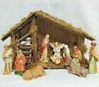 Vntage Handpainted 11pc Porcelain Nativity Set wood creche 1991 ceramic