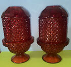 2 Vintage Viking Glass Ruby Red Fairy Lamp Candle Holder Diamond Point 4 Pcs