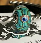 Trollbeads New OOAK Unique Blue Green Peacock Critter Murano Glass Bead