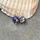 14KT Yellow Gold Blue Cloisonne Ball Gemstones Add to Hoop Earring Charms 8mm
