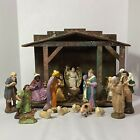 Vintage German Nativity Set w 20 Figures  Large Wooden Creche Papier Mache