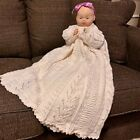 Beautiful Vintage Handcrafted Crocheted Christening Gown Sweater Cream Pink