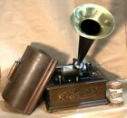 Antique EDISON STANDARD Original Cylinder Phonograph W Horn Restored Excellent