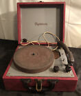 Vintage Dynavox Phonograph Record Player in Red Carrying Case 1950s Works