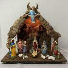 Vintage Italy Nativity Set w 14 Figures  Wooden A Frame Creche Composition