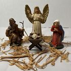 Vintage W Germany Family Set w 4 Nativity Figures Hand Painted Papier Mache
