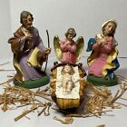 Vintage Italy Set of 4 Family Nativity Figures Hand Painted Papier Mache