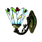 Bronze Finish Wall Lamp Cherry Motif 1 light Blue Stained Glass Tiffany Lamps