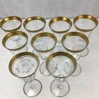 9 1930s Tiffin Franciscan Gold Encrusted Rambler Rose 6 5 8 Wine Glasses