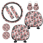 9 Pc Floral Car Seat Headrest Covers Seat Belt Cover Keychain Coaster Combo Set