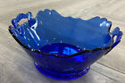 Vintage Cobalt Blue Glass Serving Bowl w Handles 9x8x4