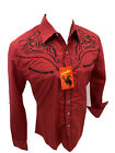Men RODEO WESTERN RED BLACK STITCH Long Sleeve Woven SNAP UP Shirt Cowboy 537