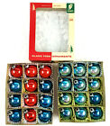 24 Vintage Franke Solid Blue Red Glass Christmas 175 Christmas Ornaments w Box