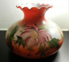 Rare Large Red Floral Hand Painted Hurricane Glass Lamp Shade 10 Fitter
