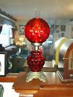 Antique RED Glass Gone With The Wind 3 way Table Lamp Quilted  Coin Optic Globe