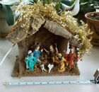 Vintage Italian NATIVITY CHRISTMAS SCENE One Piece Lighted with Figures MANGER