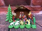 Vintage Christmas Plastic Expandable Miniature Nativity Set Hong Kong 402 1960s
