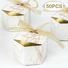 100Wedding Favor Marble Candy Boxes Gold Ribbon Chocolate Gift Box Party Supply