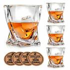 VACI GLASS Crystal Whiskey Glasses Set of 4 with 4 Drink Coasters