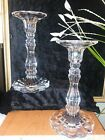 RARE Vintage Pair Crystal Glass Candlestick Holders Taper 8 Scallop Edge