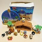 Fisher Price Little People Nativity Set Manger Bethlehem Backdrop 17pc N6010