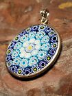 Vintage STERLING SILVER 925 ITALY MURANO Millefiori Floral Glass Pendant Charm