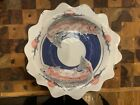 Art Pottery scalloped edge Fish Bowl Hand Painted Artisan signed Peterson