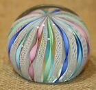 Vintage Murano Art Glass Latticino Twisted Ribbon Paperweight