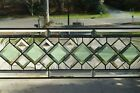 Beautiful Clear  Green Diamond Beveled Stained glass Transom